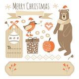 Uppsättning av grafiska beståndsdelar för gullig jul, objekt Fotografering för Bildbyråer