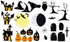 Uppsättning av grafiska beståndsdelar och symboler för halloween Arkivfoton