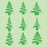 Uppsättning av granträd arkivbilder