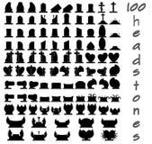 Uppsättning av 100 gravstenar vektor illustrationer