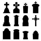 Uppsättning av gravstenen och gravstenen i kontur vektor illustrationer
