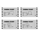 Uppsättning av Grey Cinema Ticket Arkivbild