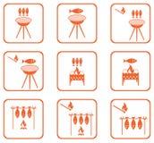 Uppsättning av Grilled fisksymboler Arkivbild