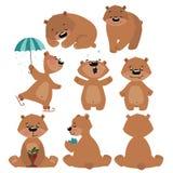 Uppsättning av grisslybjörnar Samling av tecknad filmbrunbjörnar Julillustration för barn royaltyfri illustrationer