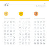 Uppsättning av grundläggande symboler för rengöringsduk och mobil stock illustrationer