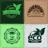 Uppsättning av grungeetiketter för organiska & ekologiska produkter - vektor eps8 Arkivbild