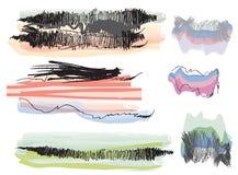 Uppsättning av grungevattenfärgbaner Arkivfoton