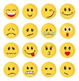 Uppsättning av gula emoticons och emojis Royaltyfri Foto