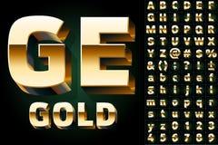 Uppsättning av guld- alfabetbokstäver Arkivfoto