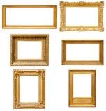 Uppsättning av guld- bildramar för rektangel fotografering för bildbyråer