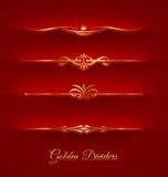 Uppsättning av guld- dekorativa avdelare Arkivbilder