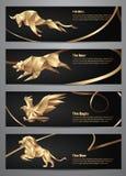 Uppsättning av guld- djura baner Arkivbild