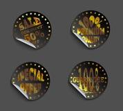 Uppsättning av guld- etiketter Fotografering för Bildbyråer