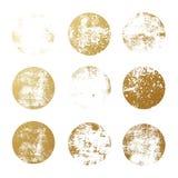 Uppsättning av guld- folierundatexturer för logoer, etiketter som brännmärker, ramar Guld- blänka texturerade cirkelstämplar för  vektor illustrationer