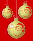 Uppsättning av guld- julbollar med snögubben stock illustrationer