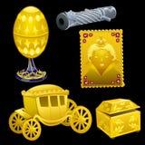 Uppsättning av guld- kungliga objekt på en svart bakgrund stock illustrationer