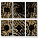 Uppsättning av guld- mosaikmallar för befordrings- reklamblad Royaltyfria Foton