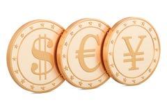 Uppsättning av guld- mynt Dollar, euro och yen eller yuan, tolkning 3D Arkivbilder