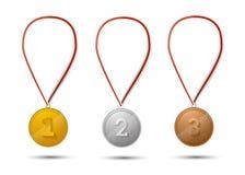 Uppsättning av guld, silver och bronsmedaljer på vit stock illustrationer