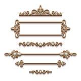 Uppsättning av guld- smyckendesignbeståndsdelar på vit vektor illustrationer