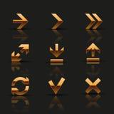 Uppsättning av guld- symboler Arkivfoton