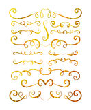 Uppsättning av guld texturerade hand drog karaktärsteckningar Royaltyfri Fotografi