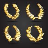 Uppsättning av guld- utmärkelselagerkransar Royaltyfria Bilder