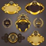 Uppsättning av guld vip royaltyfri illustrationer