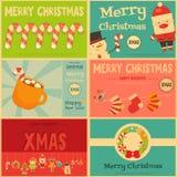 Uppsättning av gullig jul Mini Posters Arkivbild