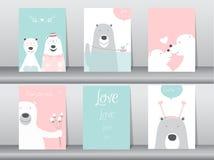 Uppsättning av gulliga djur affisch, design för dagen för valentin` s, mall, kort, björn, vektorillustrationer Arkivfoto