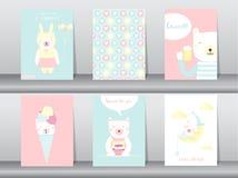 Uppsättning av gulliga djur affisch, mall, kort, björn, vektorillustrationer Arkivfoton
