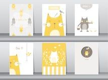 Uppsättning av gulliga djur affisch, mall, kort, katter, vektorillustrationer Royaltyfria Foton