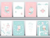 Uppsättning av gulliga djur affisch, mall, kort, ugglor, boho, vektorillustrationer Royaltyfria Foton
