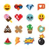Uppsättning av gulliga emoticons, klistermärkear, emojidesign som isoleras på vit bakgrund Royaltyfri Bild