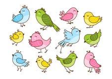Uppsättning av 12 gulliga fåglar som isoleras på vit Arkivfoto