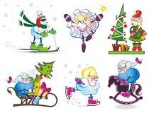 Uppsättning av gulliga får för jul Royaltyfri Bild