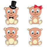Uppsättning av gulliga fyra, den härlig, brunbjörnflickan och pojken med det stora huvudet och blåa ögon i cylinder- och fluga-,  Arkivfoton