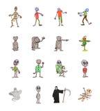 Uppsättning av gulliga gråa främmande varelser royaltyfri illustrationer
