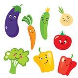 Uppsättning av gulliga grönsaker i form av tecken Aubergine, tomat, gurka, lök, paprika, peppar, broccoli och morötter stock illustrationer