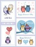 Uppsättning av gulliga hälsningkort för dag för valentin` s Royaltyfri Foto