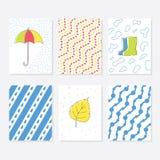 Uppsättning av 6 gulliga idérika kortmallar med Autumn Theme Design Hand dragit kort för årsdagen, födelsedag, partiinbjudningar Royaltyfria Foton