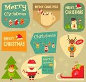 Uppsättning av gulliga julklistermärkear Arkivbilder