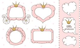 Uppsättning av gulliga klotterspeglar Prinsessavektorbeståndsdel av designen Royaltyfri Bild
