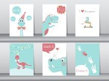 Uppsättning av gulliga kort, affisch, mall, hälsningkort, djur, dinosaurier, vektorillustrationer Arkivbilder