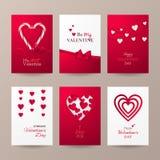 Uppsättning av gulliga kort för beröm för dag för valentin` s med godisrottingen, hjärtor, pilbågen och bandet Royaltyfri Foto
