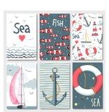 Uppsättning av 6 gulliga kortmallar med marin- design Royaltyfria Bilder