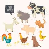Uppsättning av gulliga lantgårddjur - hund, katt, ko, svin, höna, hane, and, get Arkivbilder