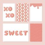 Uppsättning av gulliga munkkort Munk med rosa färgglasyr stock illustrationer