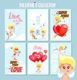 Uppsättning av gulliga romantiska tryckbara kort eller affischer för valentin dag Royaltyfri Foto