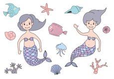 Uppsättning av gulliga sjöjungfruar och den marin- naturen vektor illustrationer